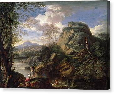Mountain Landscape With Figures Canvas Print by Salvator Rosa