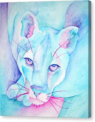 Mountain Lion In Blue Canvas Print by SX Sunset