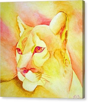 Mountain Lion In Sun Canvas Print by SX Sunset