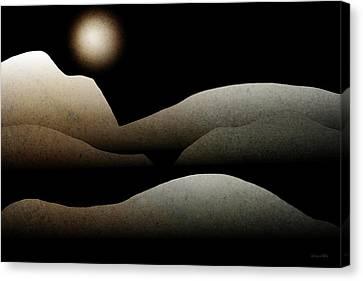 Nature Scene Canvas Print - Mountain Moonlight Landscape Art by Christina Rollo