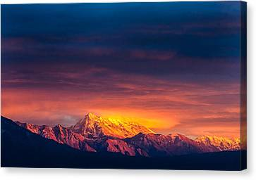 Mountain On Fire Canvas Print by Peter Irwindale