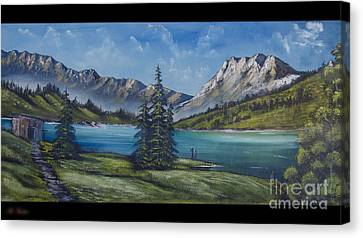 Mountain Painting A La Bob Ross Canvas Print by Bruno Santoro