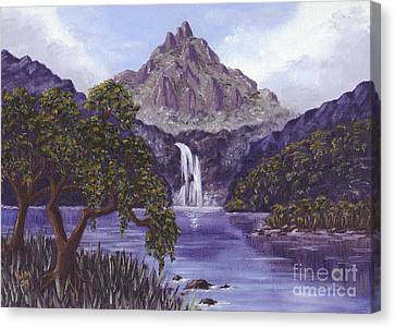 Canvas Print featuring the painting Mountain Peak by Val Miller