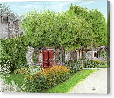 Canvas Print featuring the painting Mountain Playhouse Jennerstown Pa by Albert Puskaric