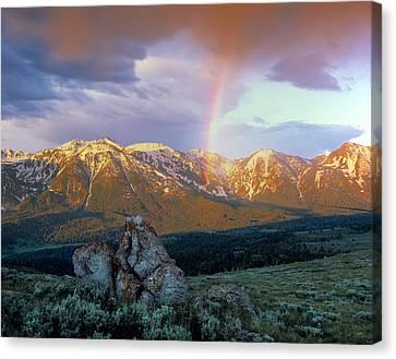 Mountain Rainbow Canvas Print by Leland D Howard
