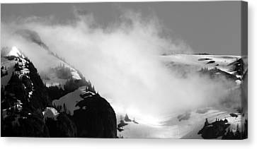 Mountain Range Black And White Three Canvas Print by Diane Rada