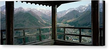 Mountain Range From A Balcony Canvas Print by Panoramic Images