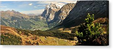 Mountain Range, Grindelwald, Kleine Canvas Print by Panoramic Images