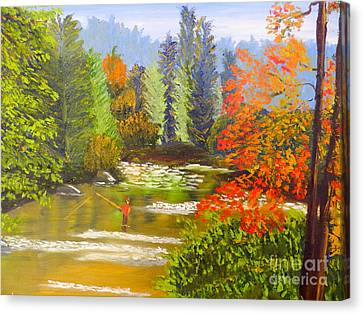Canvas Print featuring the painting Mountain Stream by Pamela  Meredith