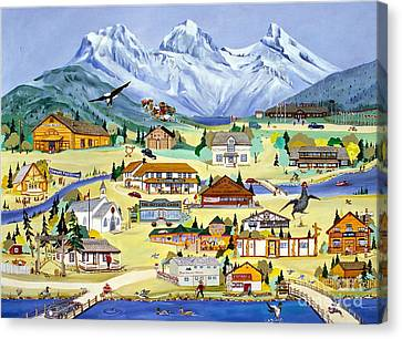 Mountain Town Of Canmore Canvas Print by Virginia Ann Hemingson