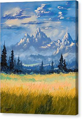 Canvas Print featuring the painting Mountain Valley by Richard Faulkner