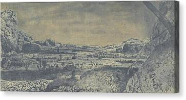 Mountain Valley With Fenced Fields, Hercules Segers Canvas Print