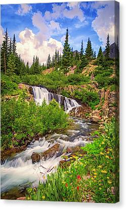 Snow Melt Canvas Print - Mountain Waterfall by Jennifer Grover