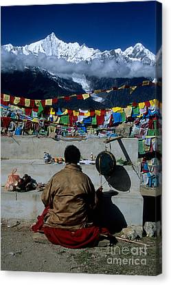 Tibetan Buddhism Canvas Print - Mountain Worship In The Himalaya by James Brunker