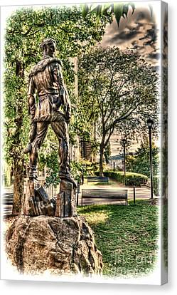 Mountaineer Statue At Lair Canvas Print by Dan Friend