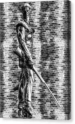Mountaineer Statue With Black And White Brick Background Canvas Print by Dan Friend