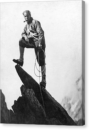 Mountaineer Takes A Break Canvas Print by Underwood Archives