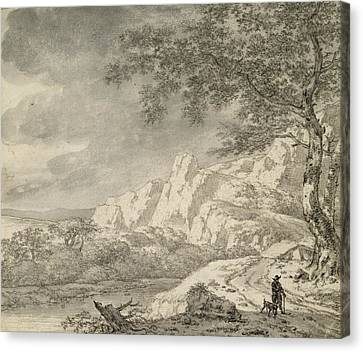 Mountainous Landscape With A Hiker Chalk And Indian Ink On Paper Canvas Print by Herman Nauwincz