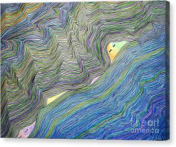 Canvas Print featuring the drawing Mountains And Oceans by Mukta Gupta