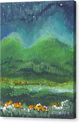 Canvas Print featuring the painting Mountains At Night by Holly Carmichael