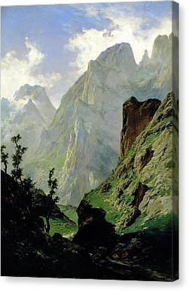 Mountains In Europe Canvas Print by Carlos de Haes