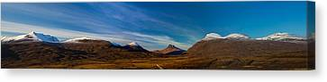 Mountains Of Assynt Panorama Canvas Print by Derek Beattie