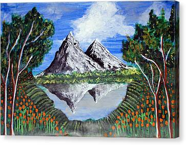 Canvas Print featuring the painting Mountains On A Lake by Saranya Haridasan