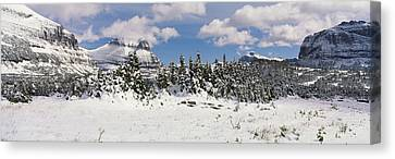 Mountains With Trees In Winter, Logan Canvas Print by Panoramic Images