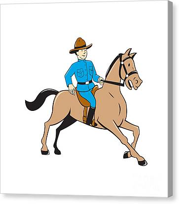 Police Officer Canvas Print - Mounted Police Officer Riding Horse Cartoon by Aloysius Patrimonio