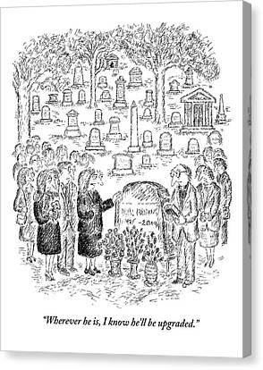 Mourners Stand Around A Gravestone Canvas Print by Edward Koren