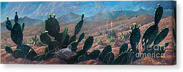 Canvas Print featuring the painting Mourning Dove Desert Sands by Rob Corsetti