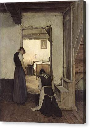 Mourning Oil On Canvas Canvas Print by Jules Charles Boquet