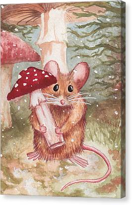 Mouse And Mushroom Canvas Print by Melissa Rohr Gindling