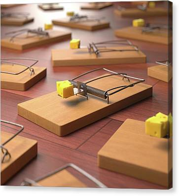 Mousetraps With Cheese Canvas Print by Ktsdesign