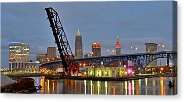 Mouth Of The Cuyahoga Canvas Print by Frozen in Time Fine Art Photography