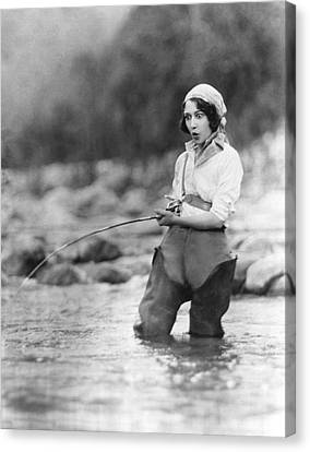 Movie Actress Trout Fishing Canvas Print