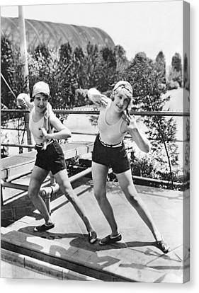 Movie Stars Exercising Canvas Print by Underwood Archives
