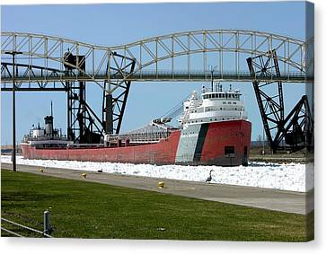 Moving Through The Ice To The Soo Locks Canvas Print by Keith Stokes