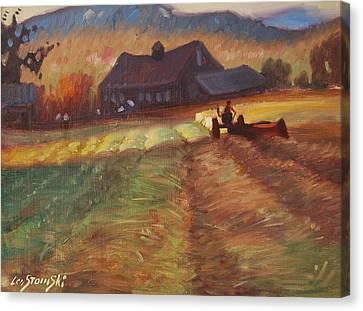 Mowing Canvas Print by Len Stomski