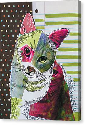 Moxie...abstract Cat Painting Canvas Print