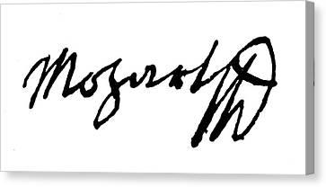 Autographed Canvas Print - Mozart Autograph by Granger