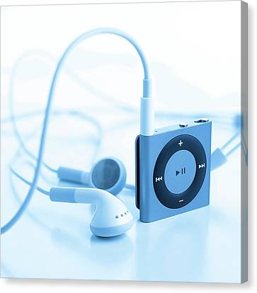 Mp3 Player And Earphones Canvas Print by Science Photo Library