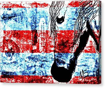 Mprints Red White And Blue Canvas Print by M  Stuart