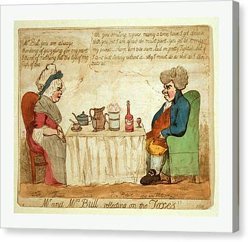 Mr. And Mrs. Bull Reflecting On The Taxes Canvas Print by Litz Collection