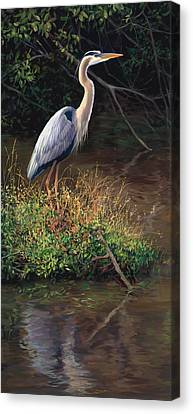 Standing Canvas Print - Mr Blue Heron by Laurie Hein