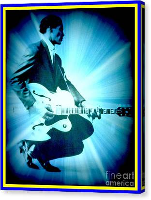 Mr Chuck Berry Blueberry Hill Style Edited Canvas Print by Kelly Awad