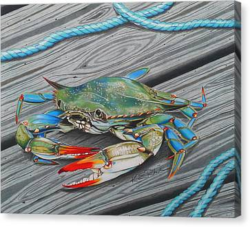 Blue Claw Crab Canvas Print - Mr. Jimmy by Karen Rhodes
