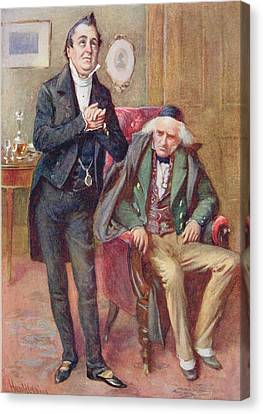 Mr Pecksniff And Old Martin Chuzzlewit, Illustration For Character Sketches From Dickens Compiled Canvas Print by Harold Copping