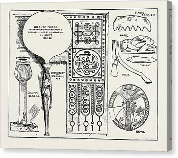 Antiquities Canvas Print - Mr. Petries Egyptian Antiquities, 1889 Bronze Mirror by Litz Collection