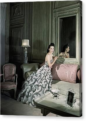 1941 Canvas Print - Mrs. Byron C. Foy Wearing A Dress by Horst P. Horst